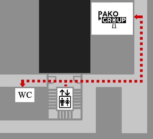 4. kerroksen sisätilakartta hissiltä pakohuoneen liiketilalle