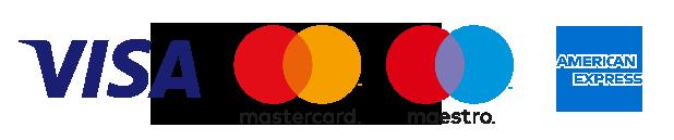 Pakohuoneeseen maksuvälineinä käyvien pankkikorttien logot