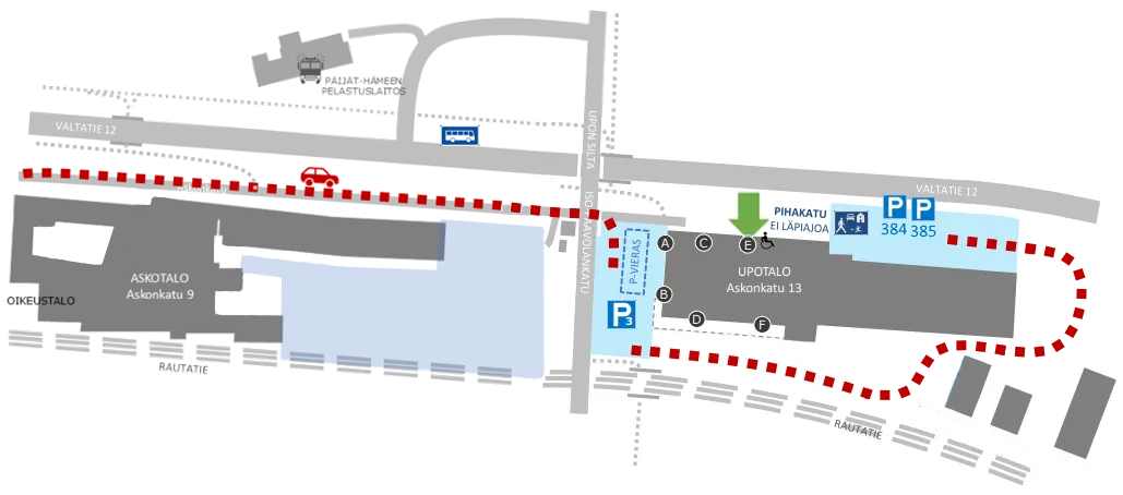 Kartta Upotalon piha-alueesta Pako Groupin parkkipaikoille ja isolle vierasparkille